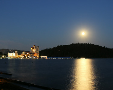 A picture of the Coeur d' Alene resort with the full super moon July 12, 2014